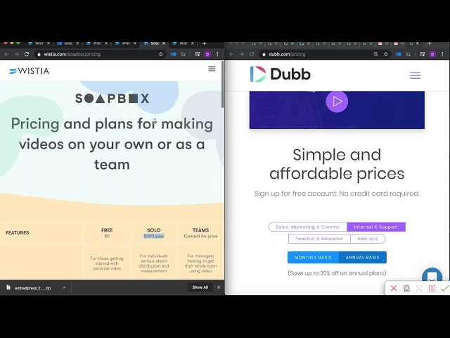 Wistia vs Dubb screenshot