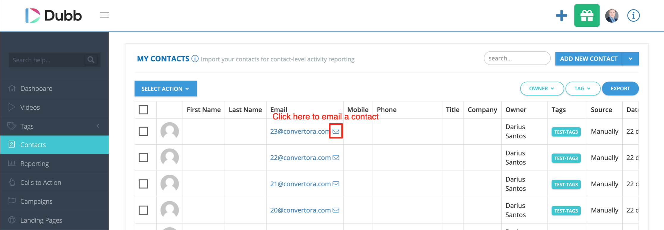 Contact page email sender