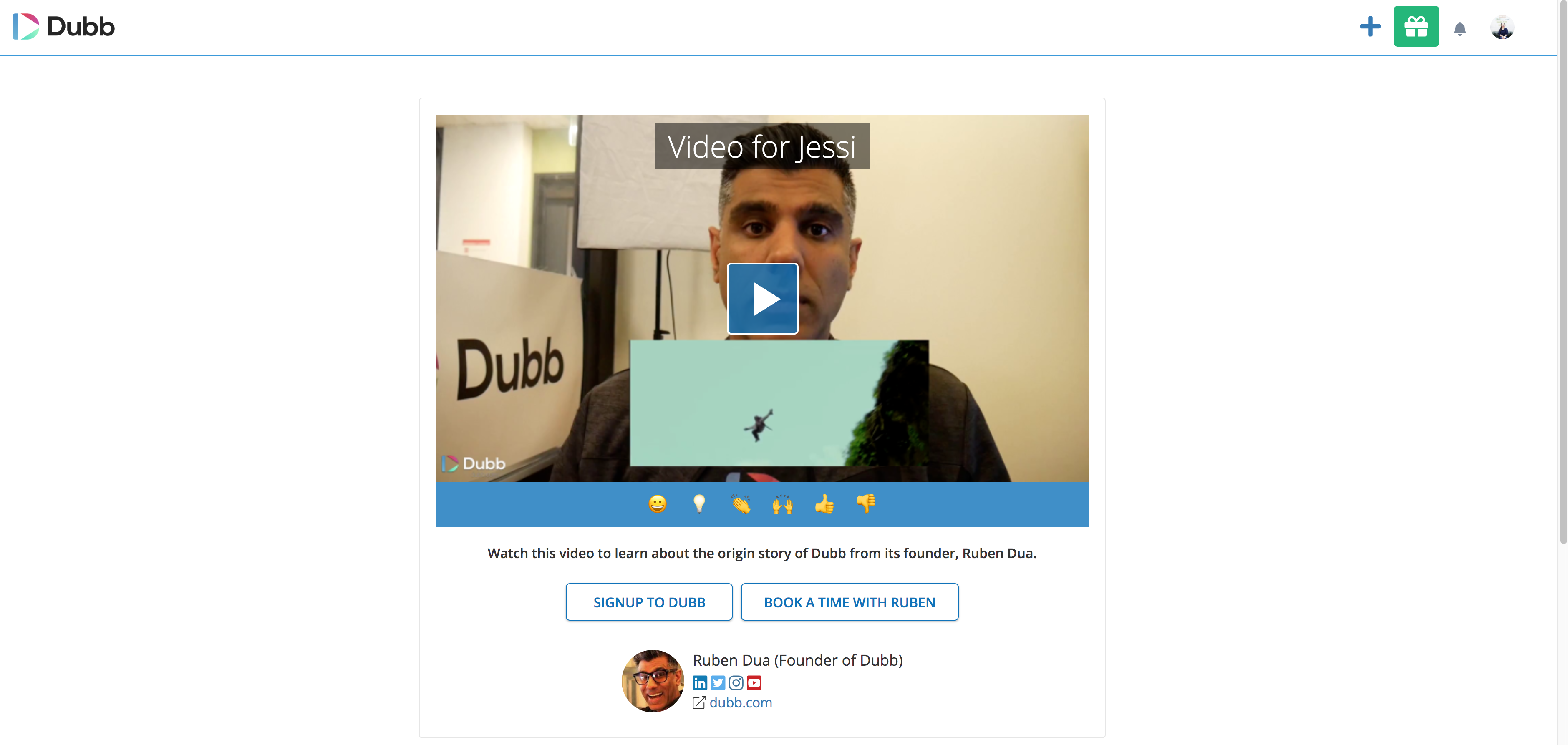 video pitch using Dubb