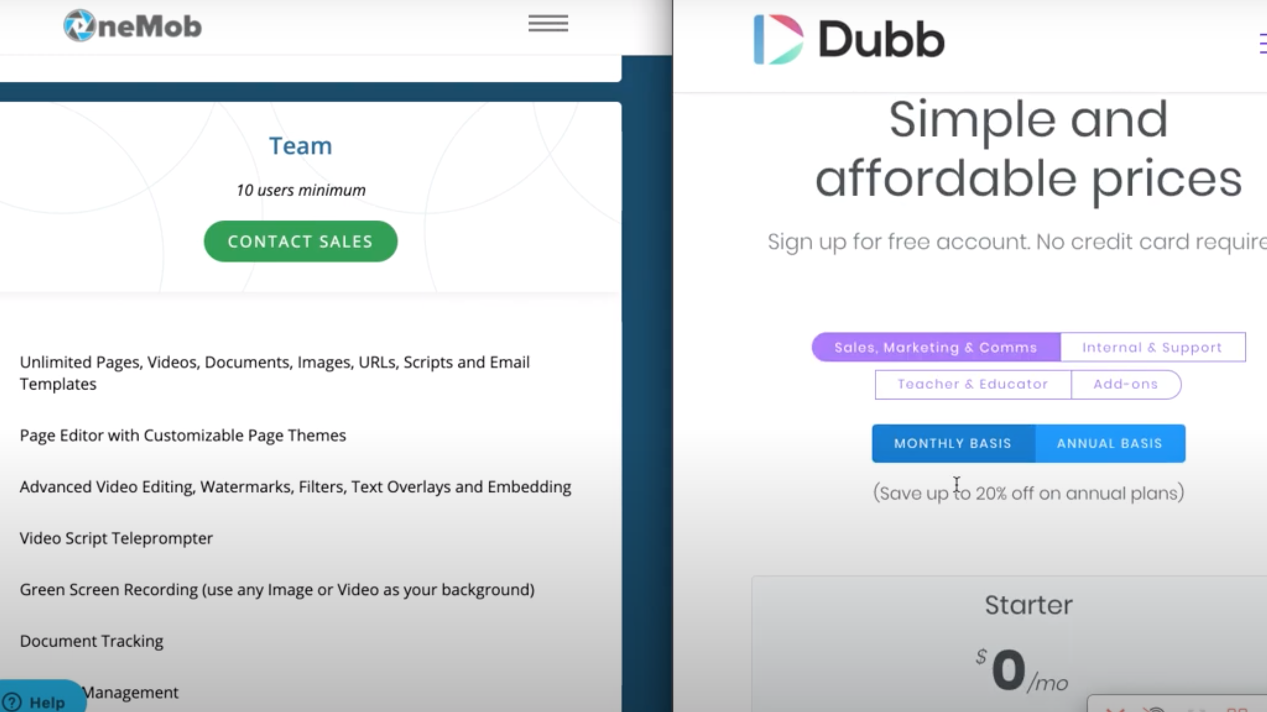 Onemob features vs Dubb features
