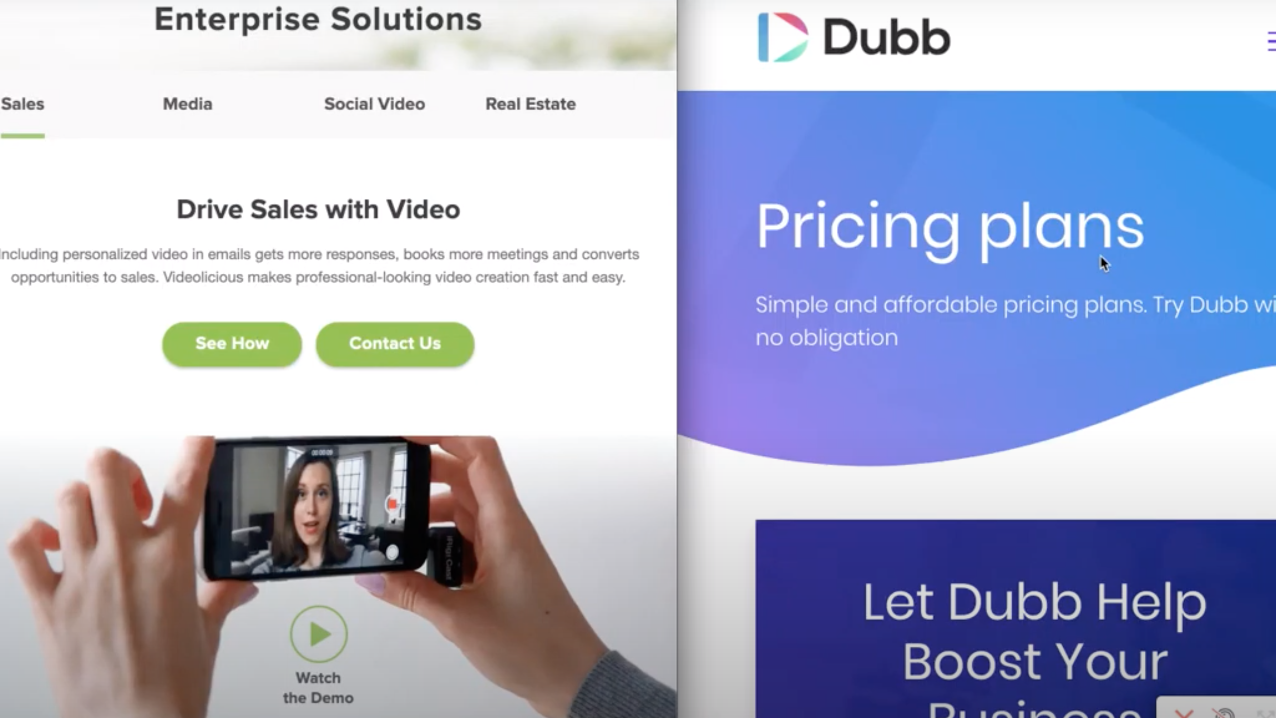 Videolicious pricing compared to Dubb pricing