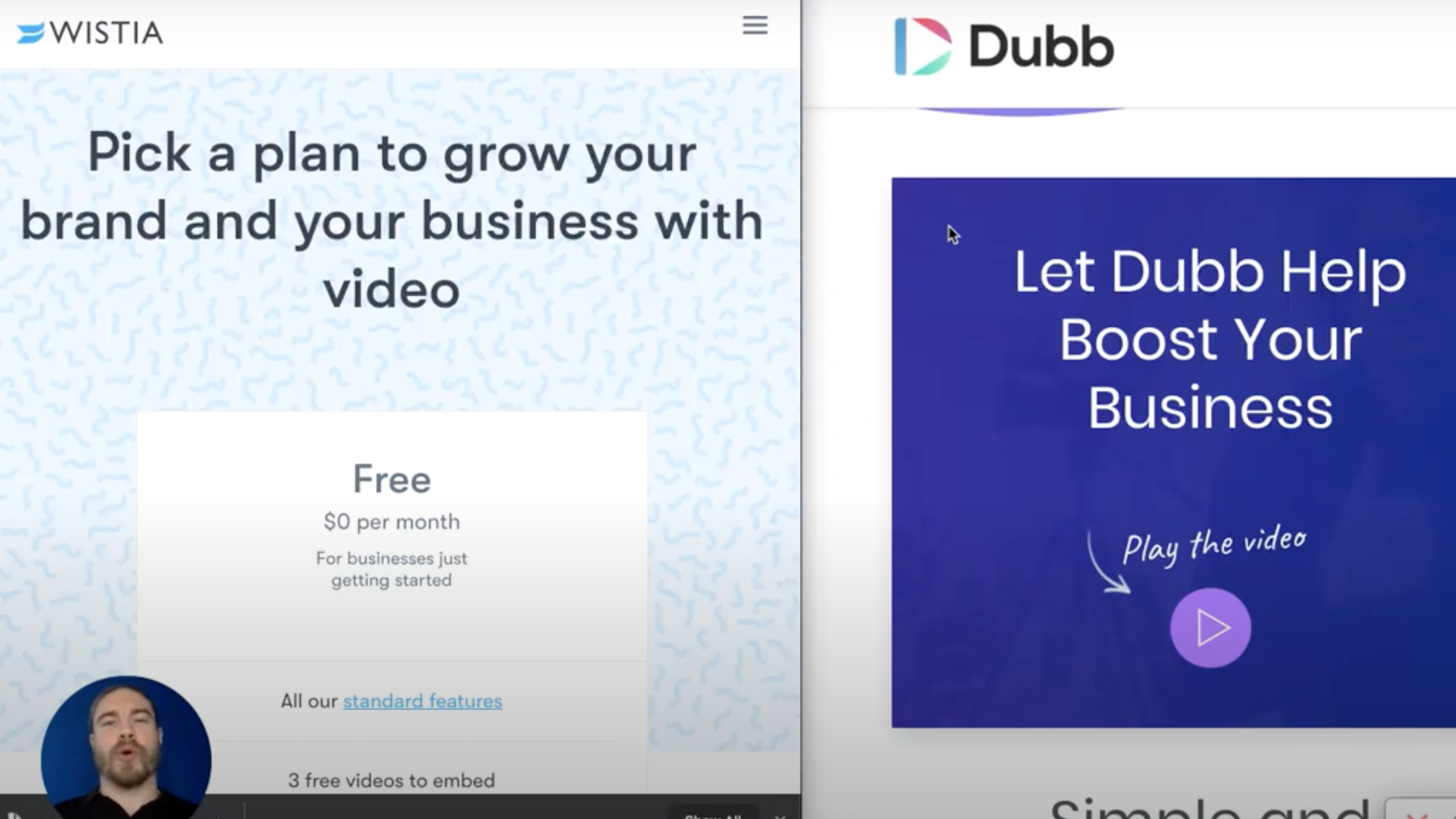 Wistia features compared to Dubb features