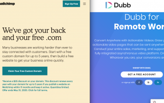 Mailchimp Homepage compared to Dubb Homepage