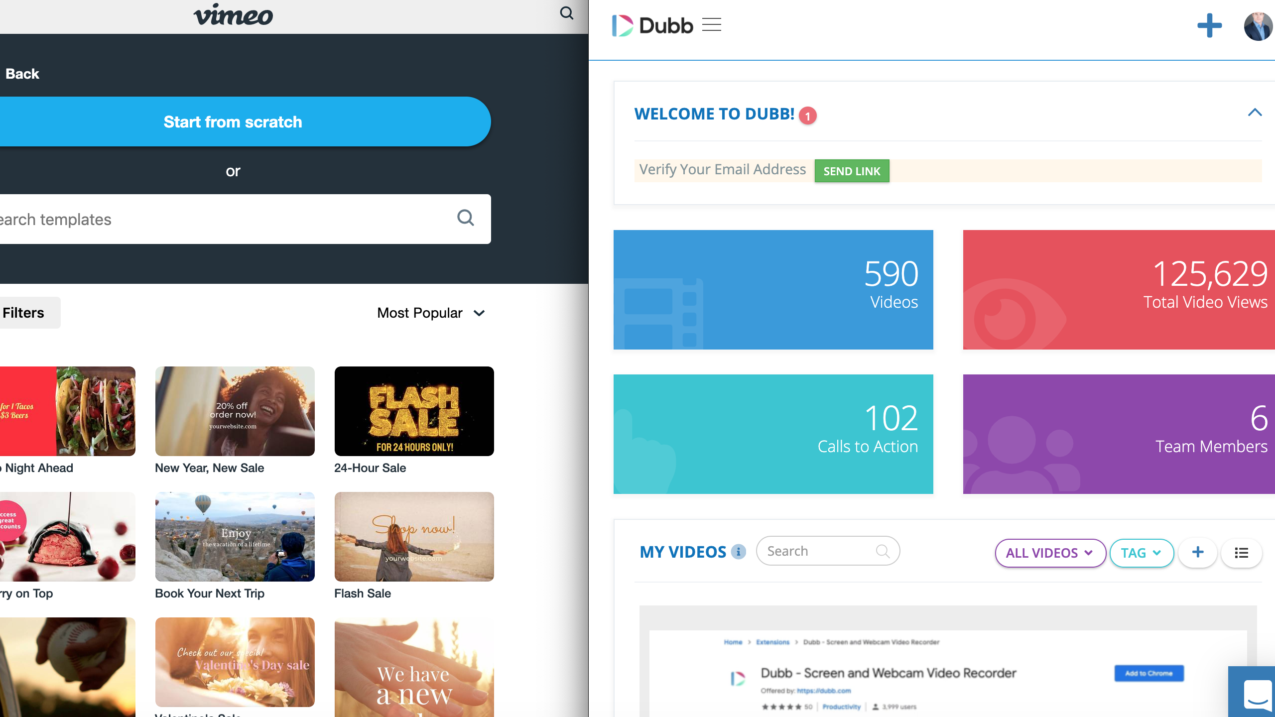 Vimeo features compared to Dubb Features