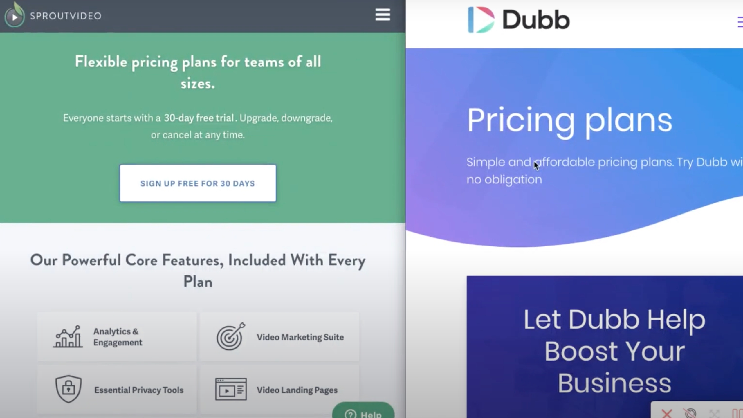 SproutVideo Pricing compared to Dubb Pricing