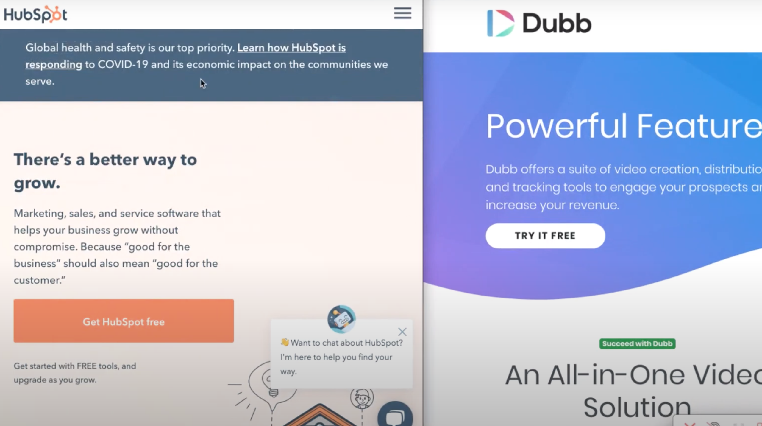 Hubspot website compared to Dubb