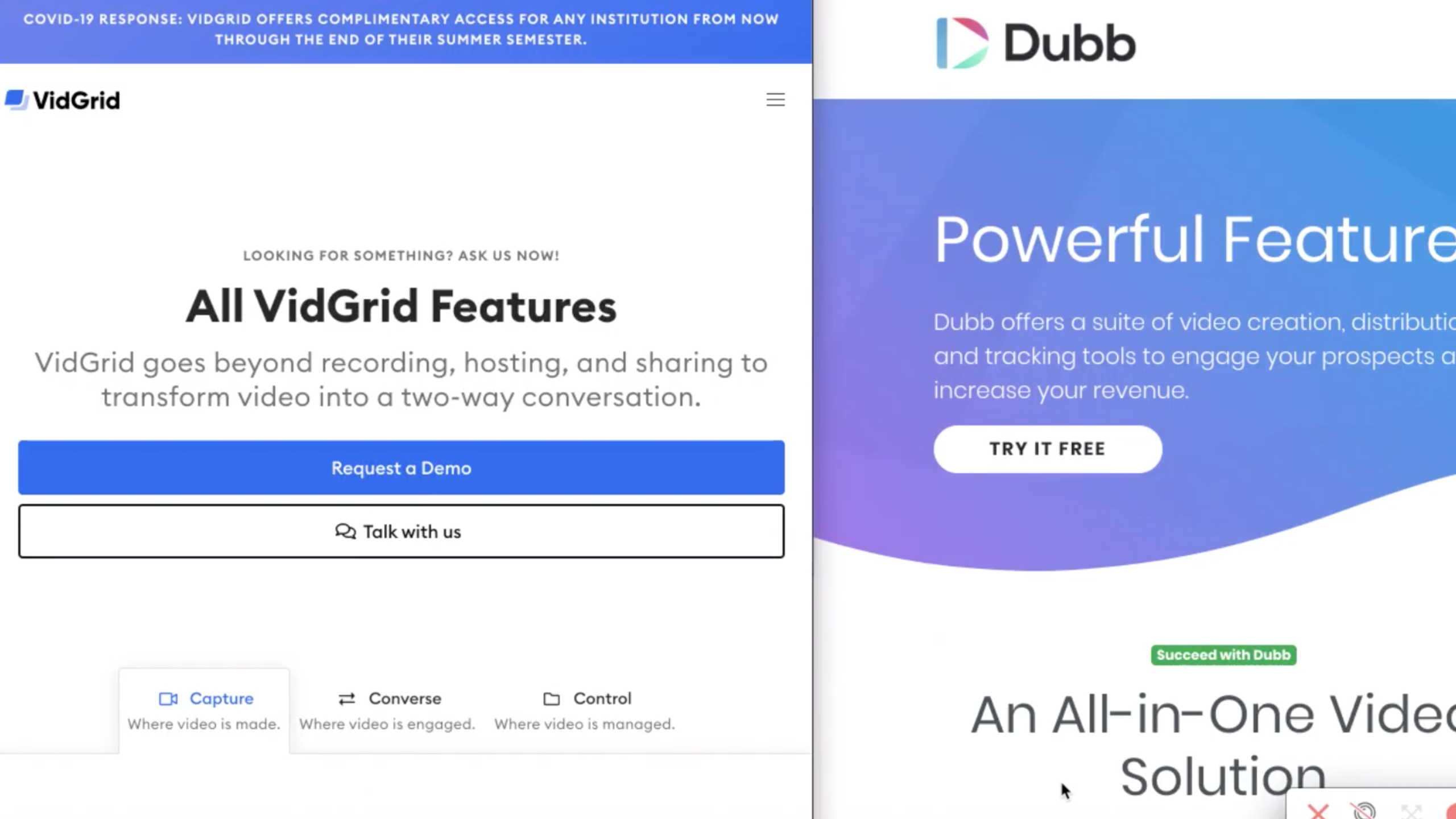 Vidgrid compared to Dubb