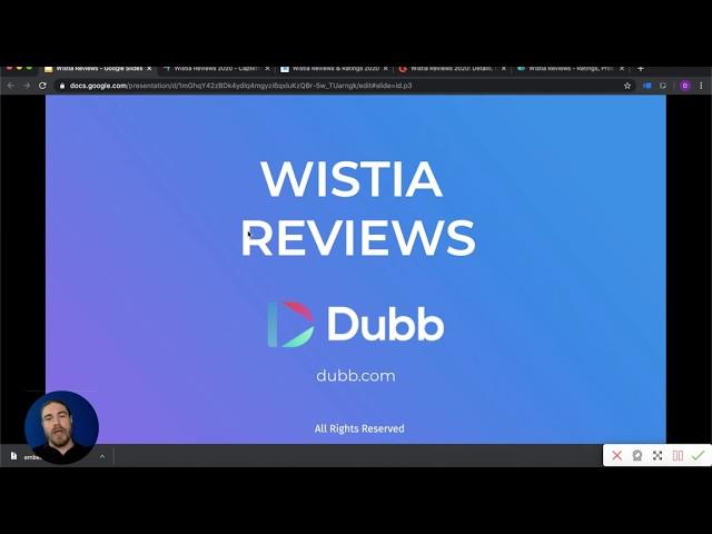 A screenshot of Wistia reviews