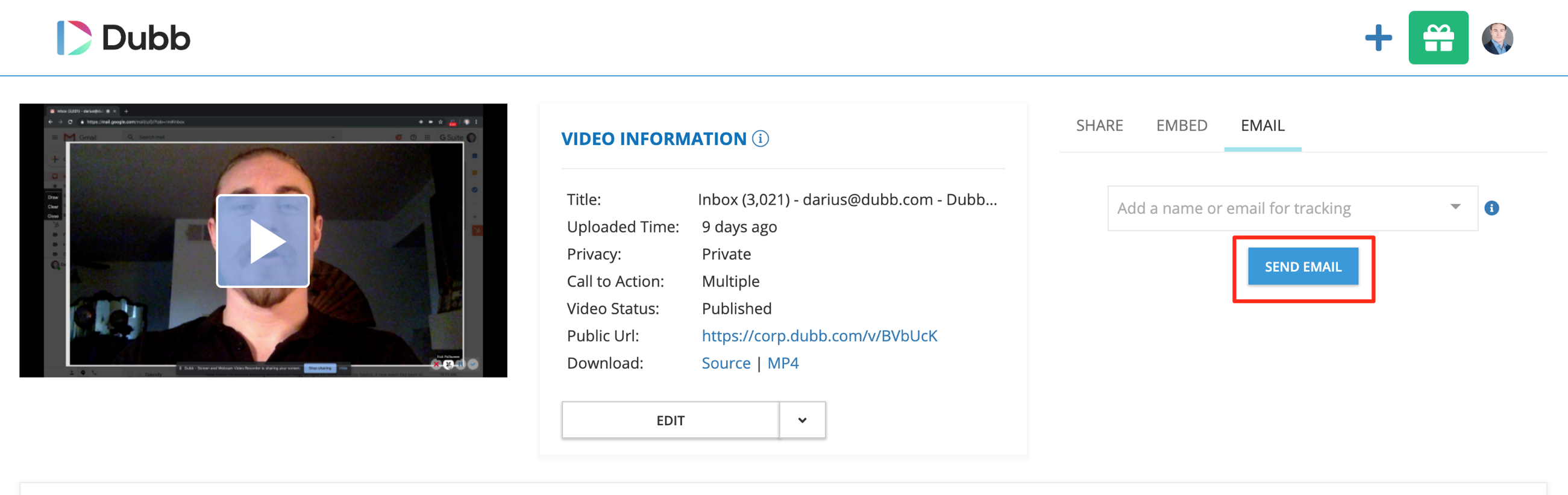 video page email sender